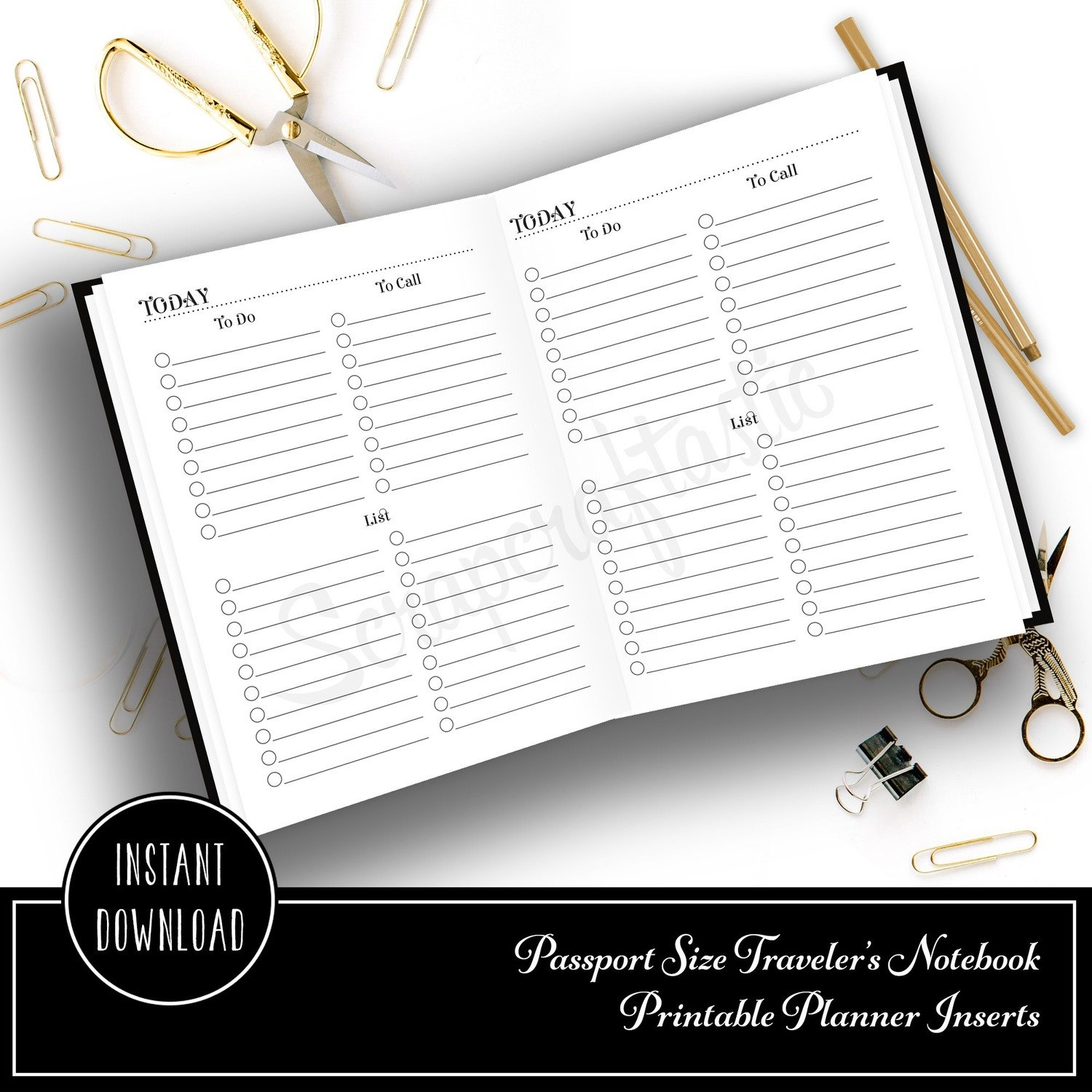 Multi List Passport Size Traveler's Notebook Printable Planner Inserts