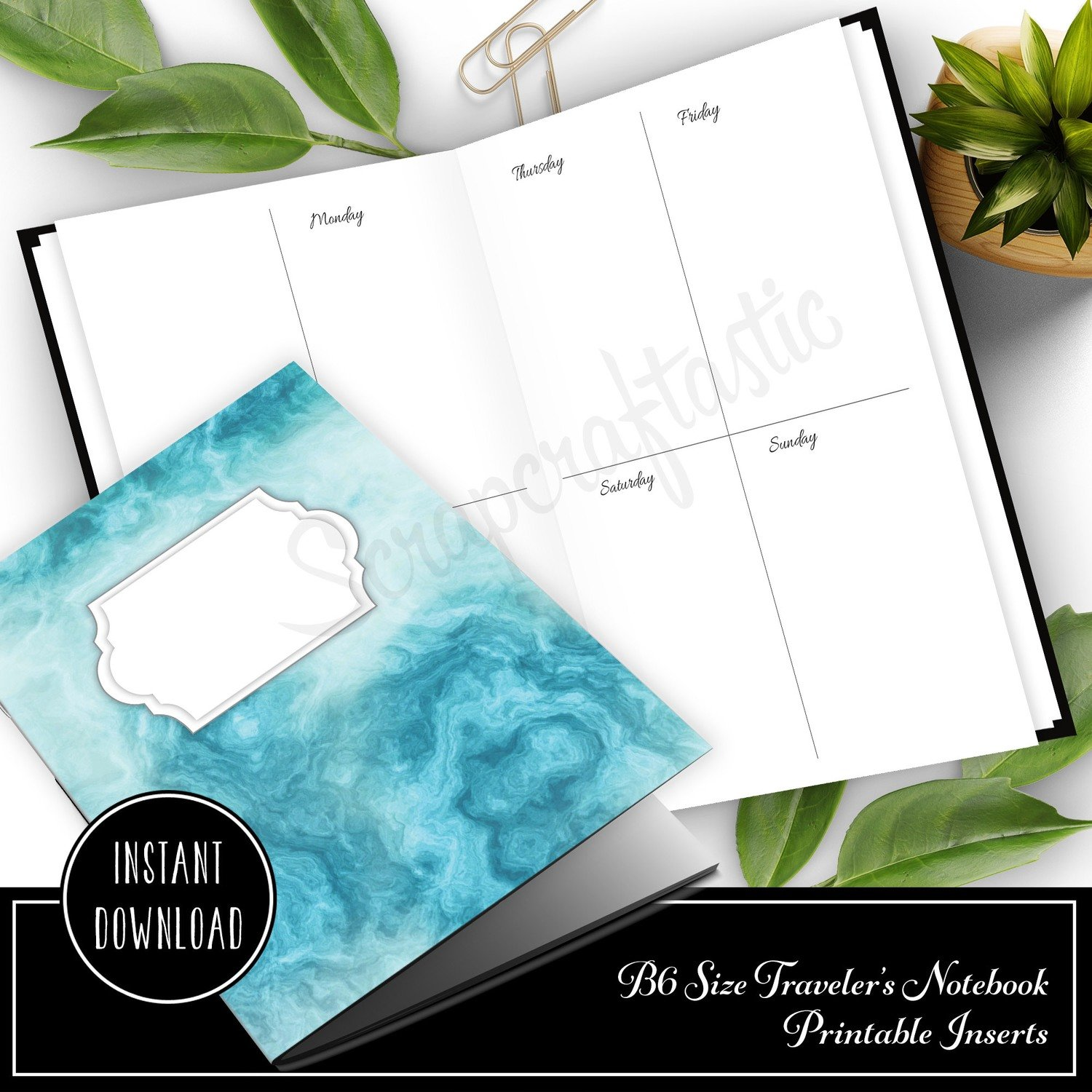 B6 TN - Basic Week On Two Pages (WO2P) Traveler's Notebook Printable Planner Inserts