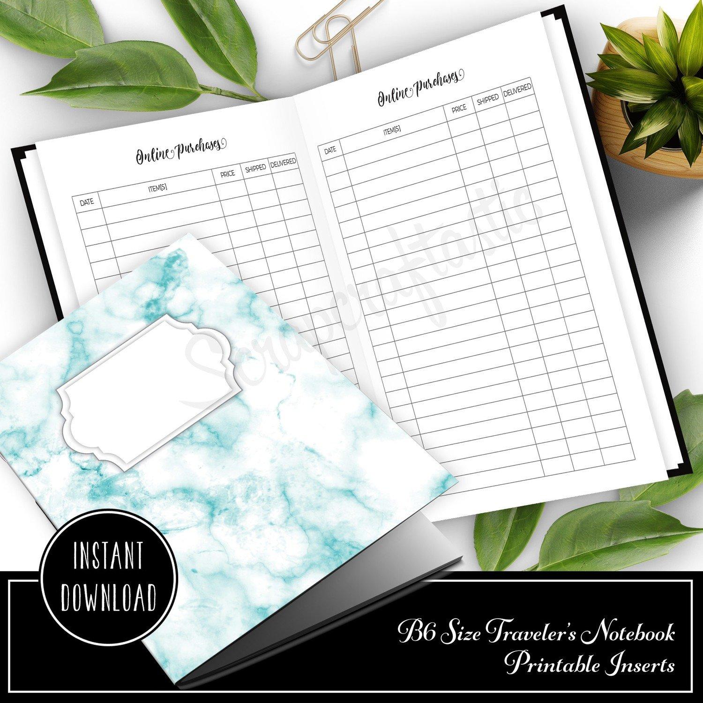 Online Purchase / Order Tracker B6 Traveler's Notebook Printable Insert