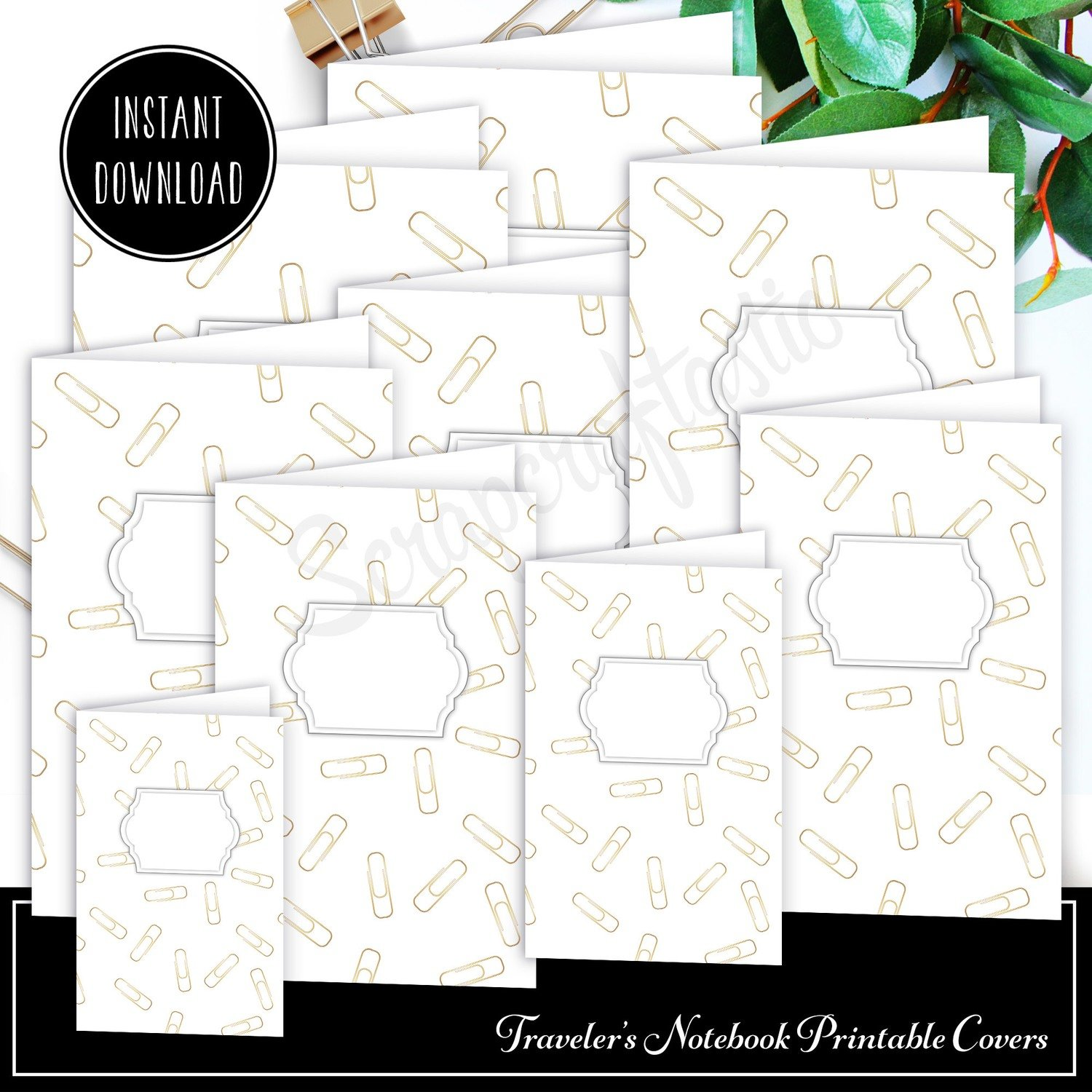 Gold Paper Clip Traveler's Notebook Insert Cover Printable and Patterned Paper Set