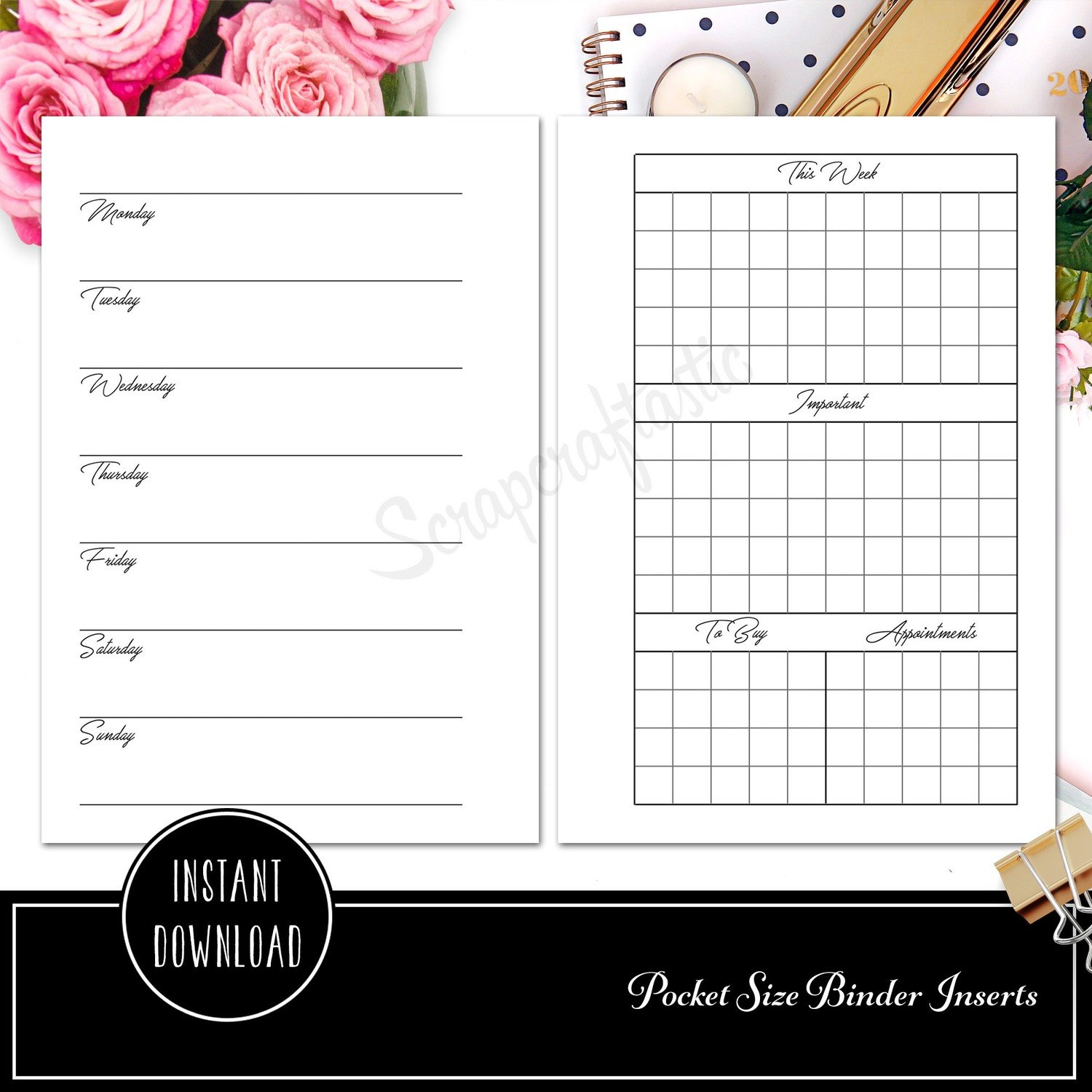 POCKET RINGS - Week on Two Pages Ring Binder Printable Insert Refill Undated