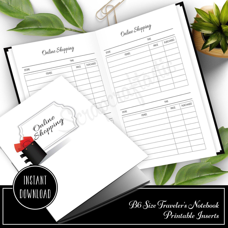 Online Shopping B6 Size Traveler's Notebook Printable Planner Inserts