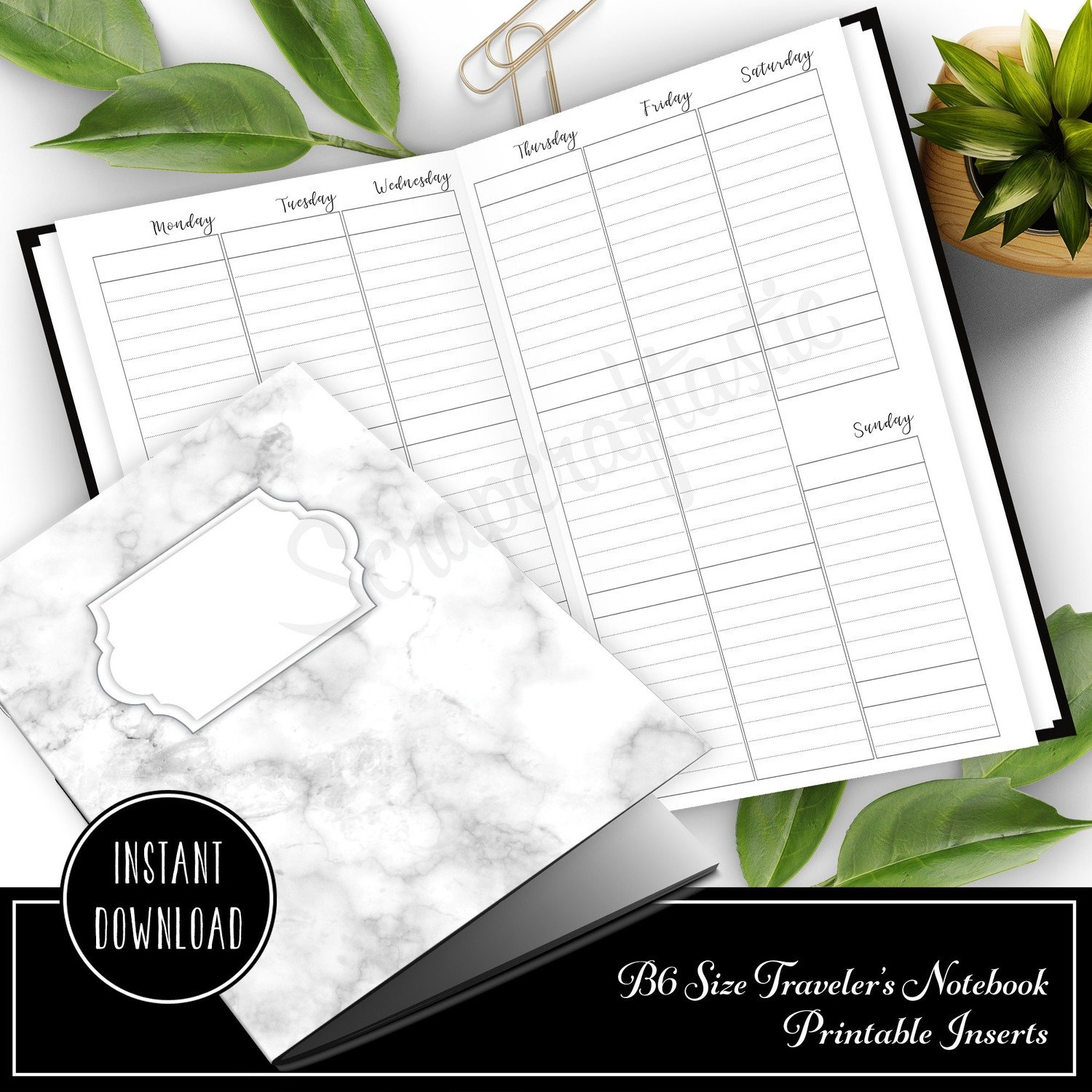 Vertical EC Boxes Lined Week on Two Pages (WO2P) B6 Traveler's Notebook Printable Inserts
