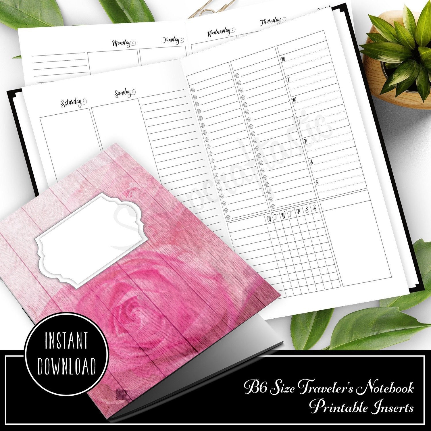 Deluxe Week on Four Pages (WO4P) B6 Traveler's Notebook Printable Inserts