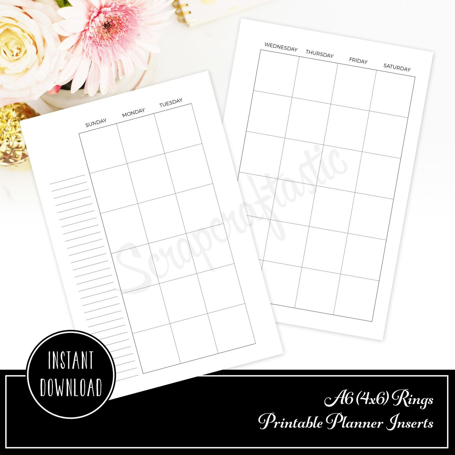 Month Two Pages (MO2P) Undated A6 Rings / Binder Printable Planner Inserts
