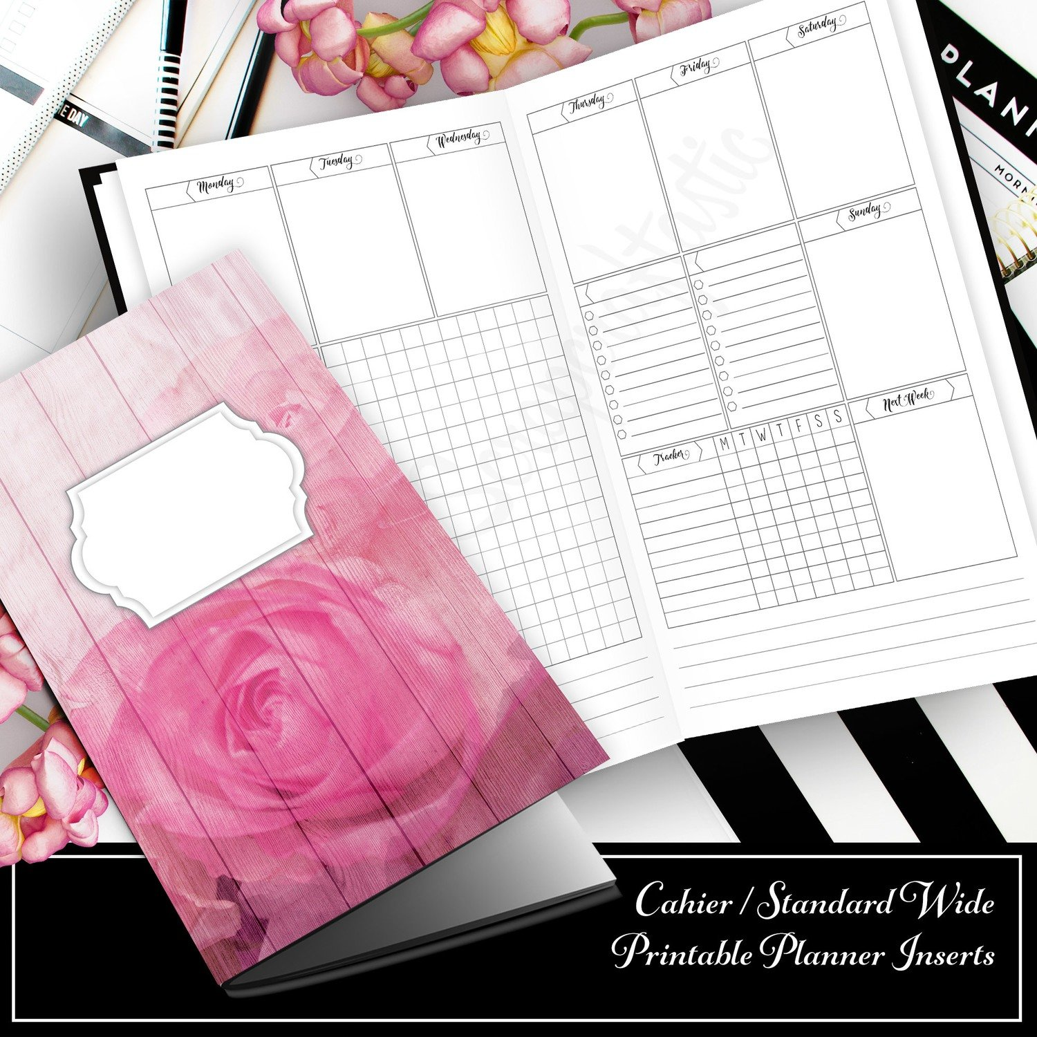 Deluxe Horizontal Vertical Week on Two Pages (WO2P) Cahier Traveler's Notebook Printable Inserts