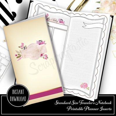 Rose Cream Undated Daily (DO2P) Standard Size Designed Printable Traveler's Notebook Inserts