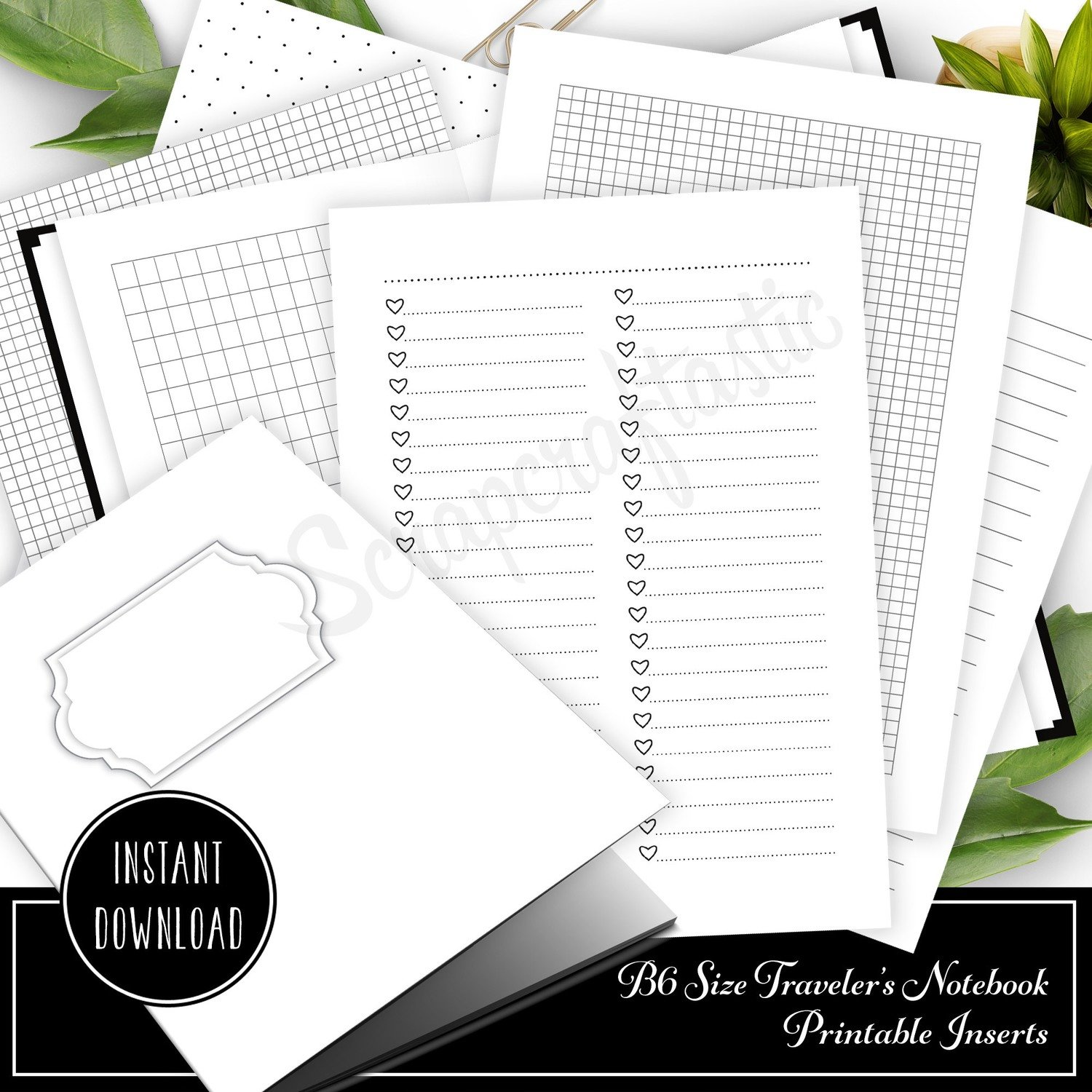 The Basics B6 Traveler's Notebook Printable Inserts - Cover, Checklists, Grids, Dot Grids, Lined and Blank Inserts