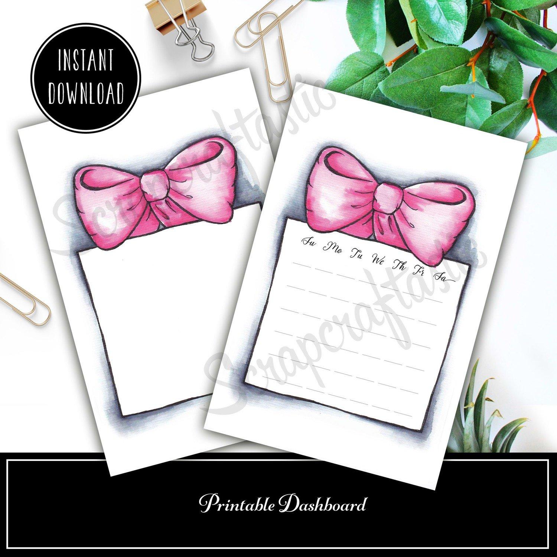 Pink Bow and Box A6 4x6 Original Artwork Printable Dashboard