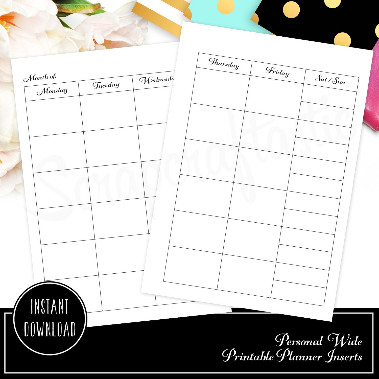 Personal Wide Rings - Month on Two Pages (MO2P) with Condensed Weekend Printable Planner Inserts 3 font options