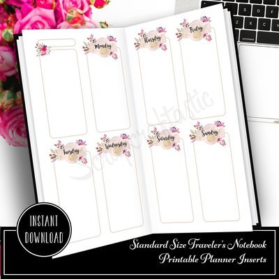 Rose Cream Undated Week on Two Page (WO2P) Designed Standard Traveler's Notebook Printable Inserts
