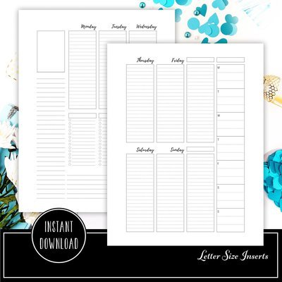 Week 33 Deluxe - Week On Two Pages (WO2P) Letter Size Printable Planner Inserts