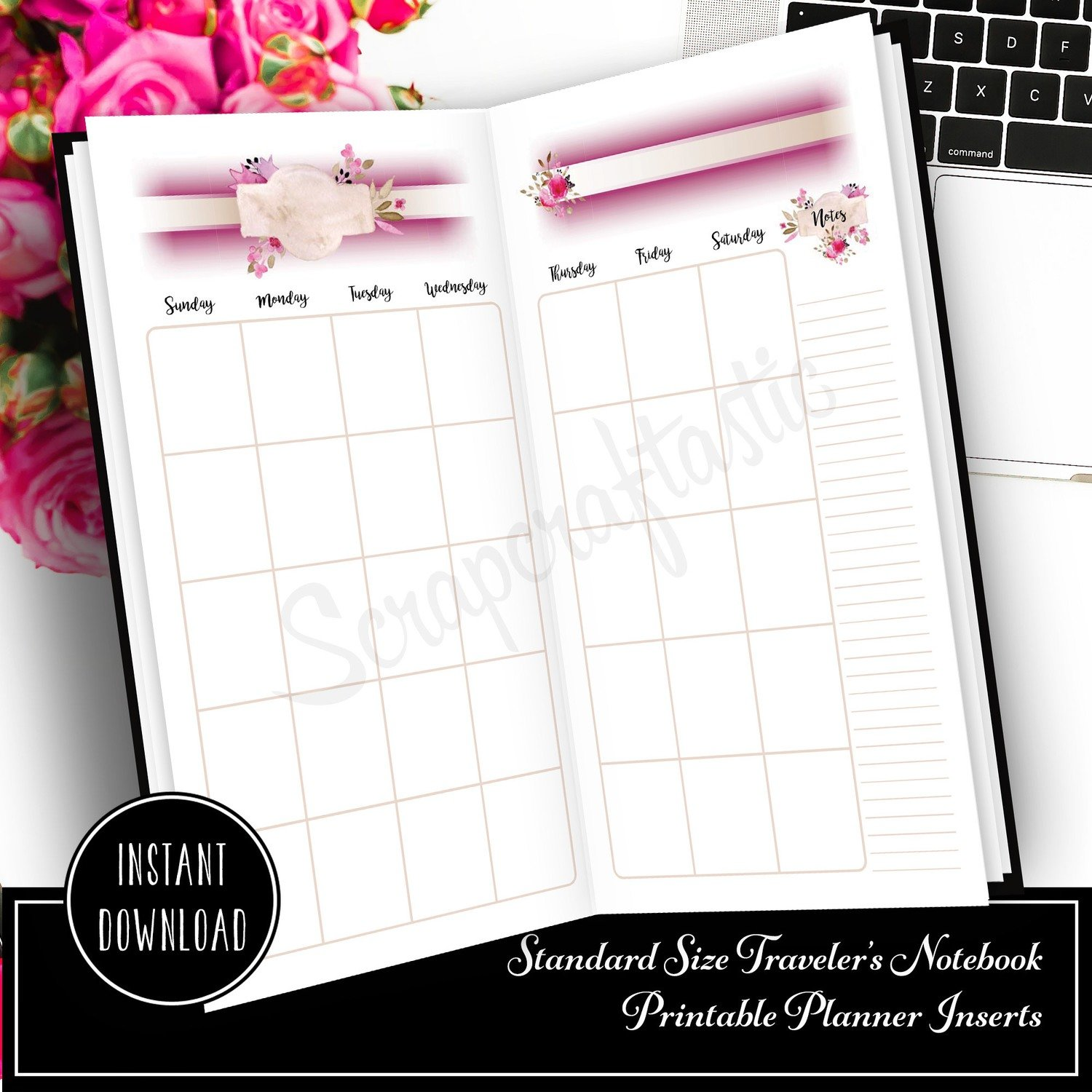 Rose Cream Undated Month on Two Page (MO2P) Standard Traveler's Notebook Designed Printable Planner Inserts