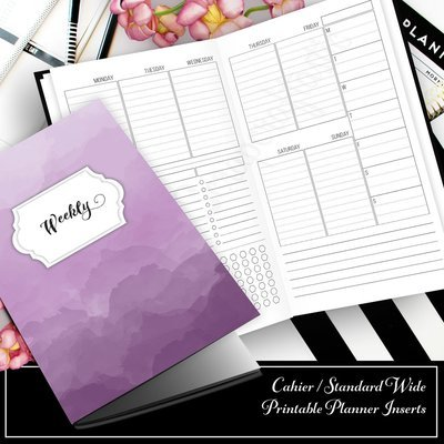 Week 33 Deluxe - Week On Two Pages (WO2P) Cahier Traveler's Notebook Printable Planner Inserts