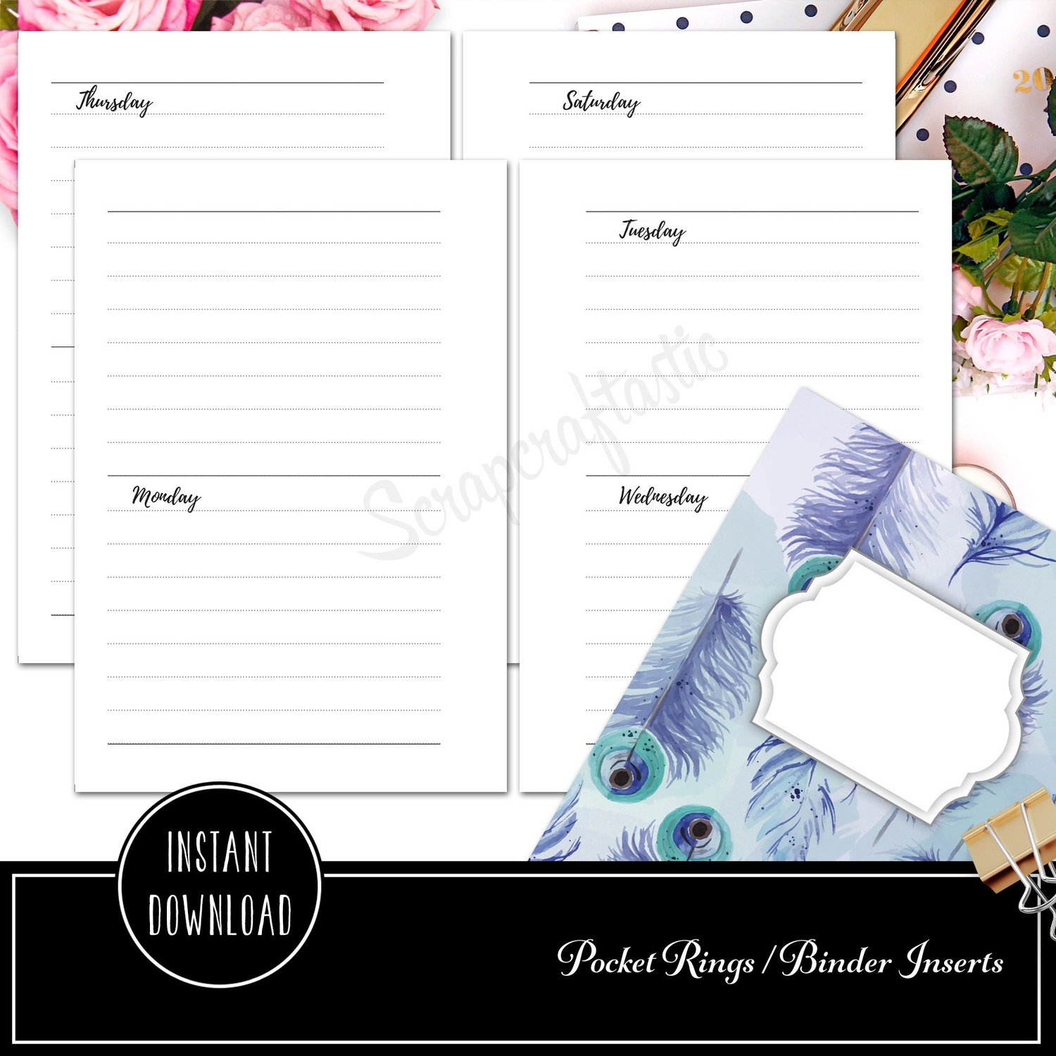 POCKET RINGS - Week on Four Pages Horizontal Ring Binder Printable Insert Refill Undated