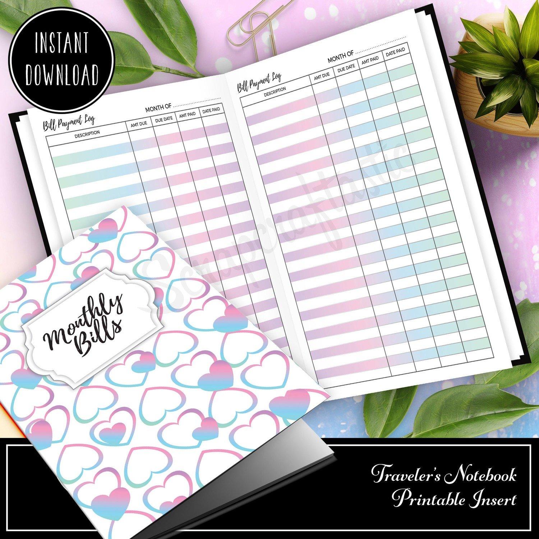 STANDARD - Unicorn Magic Monthly Bill Payment Log Traveler's Notebook Printable Insert