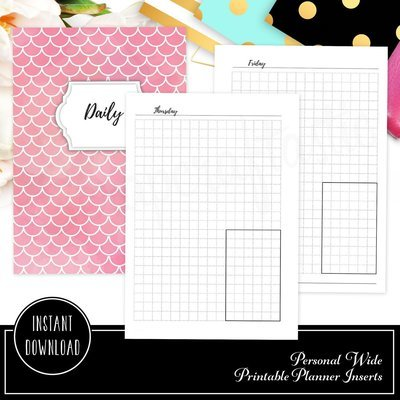 PERSONAL WIDE - Day on One Page (DO1P) Grid Box Ring Binder Printable Planner Inserts