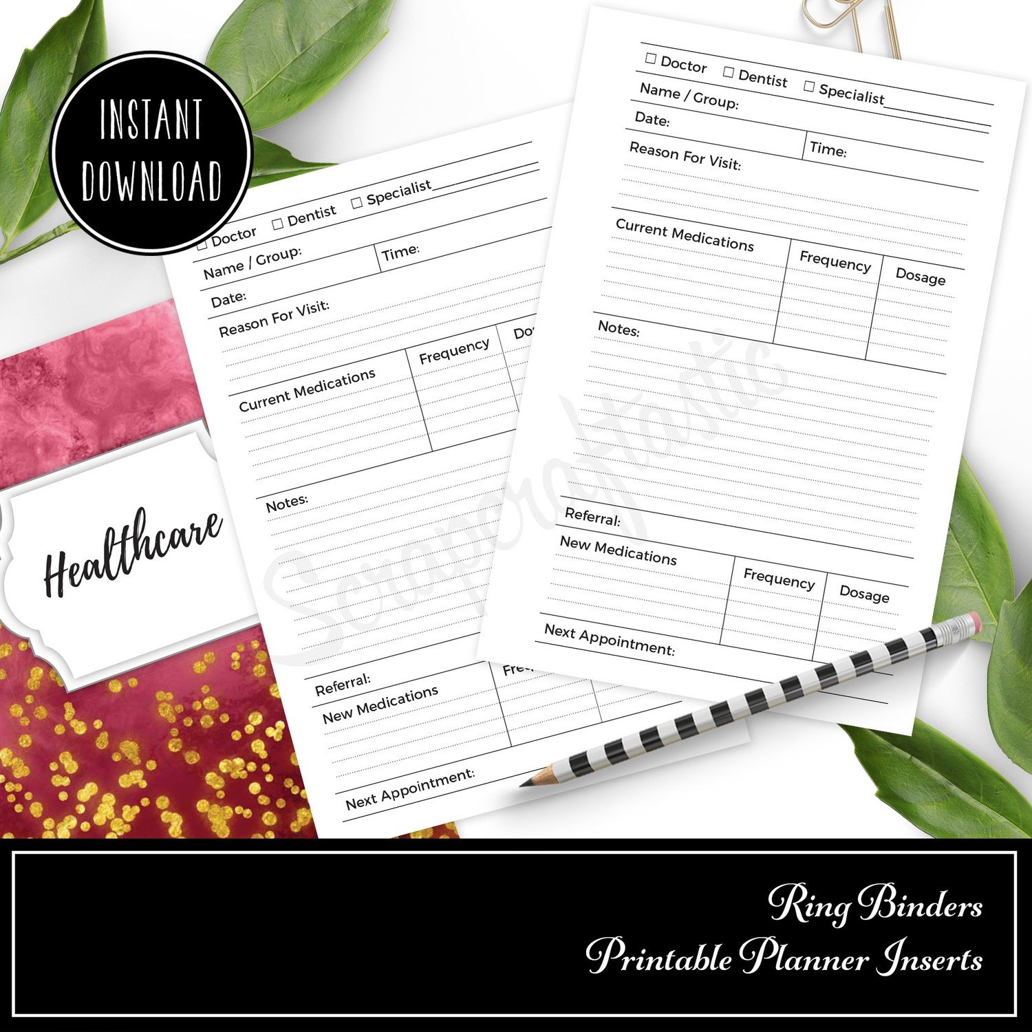 PERSONAL RINGS - Healthcare Visit Log Ring Binder Printable Insert