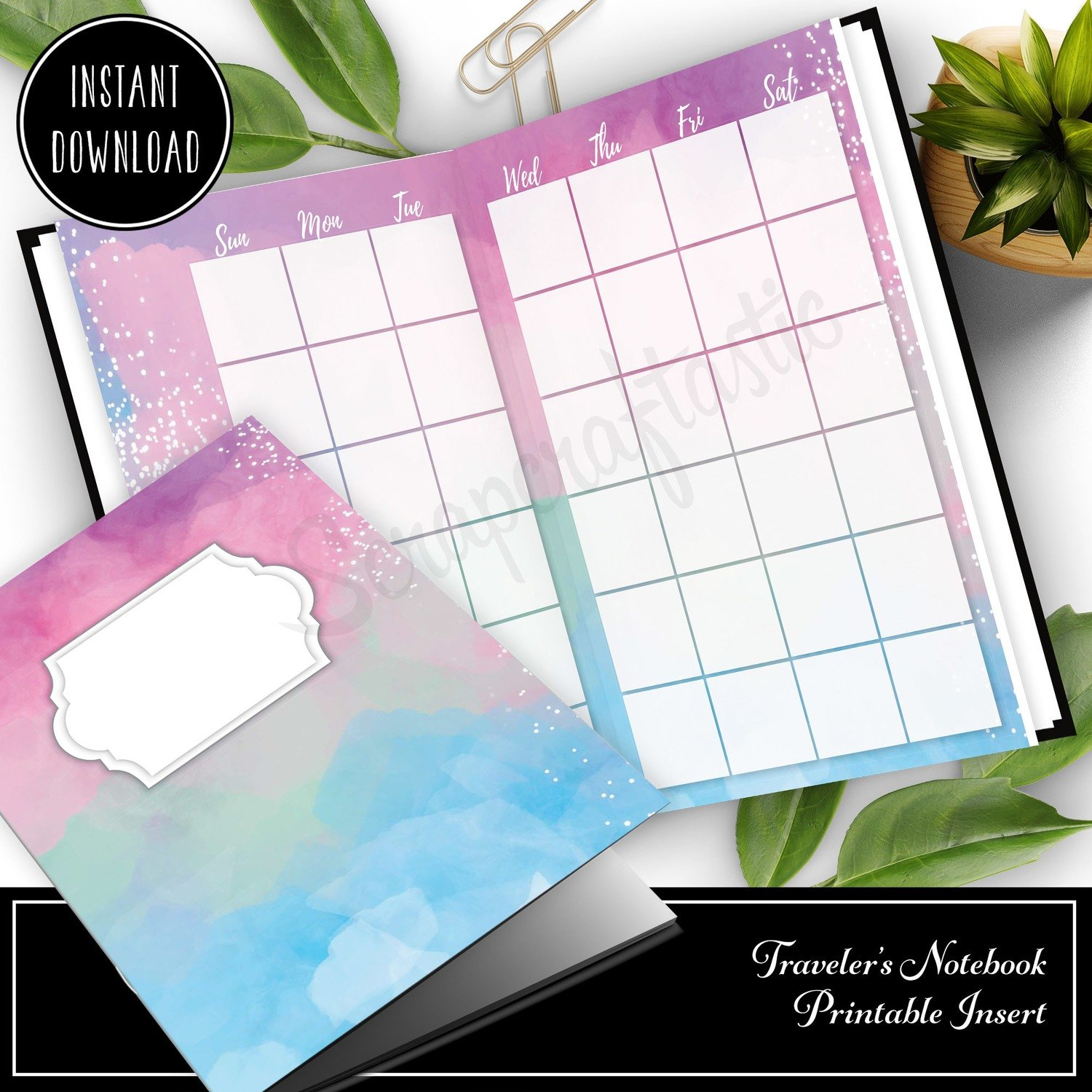 STANDARD TN - Unicorn Magic Monthly Undated Traveler's Notebook Printable Insert