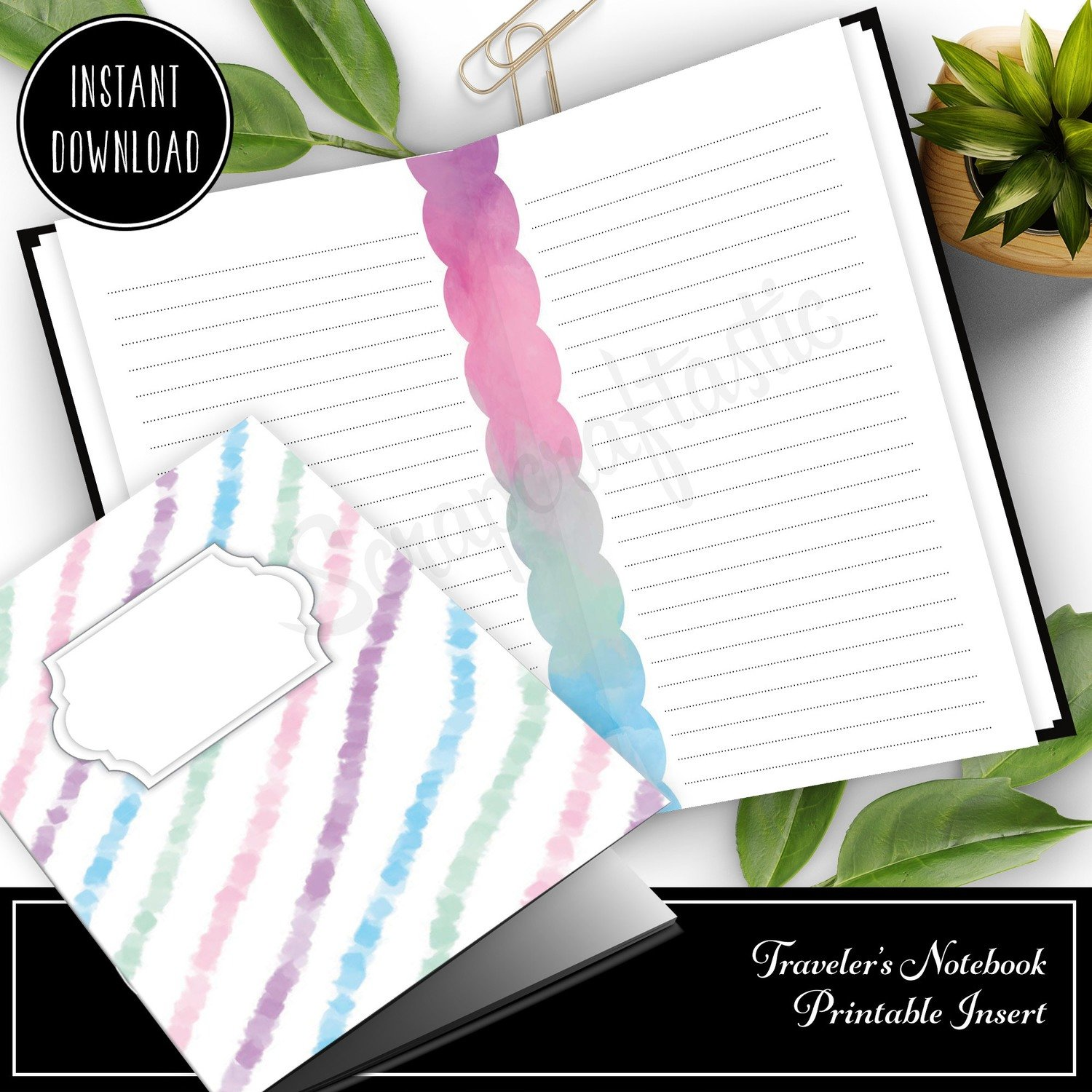 STANDARD TN - Unicorn Magic Lined Note Paper Traveler's Notebook Printable Insert