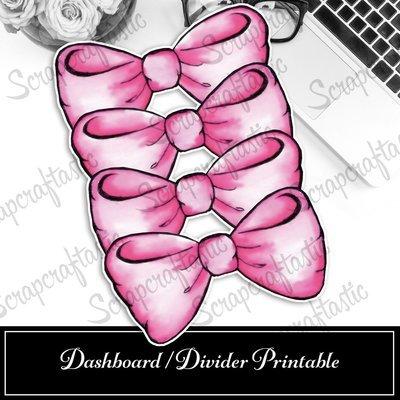 B6 - Giant Pink Bows Original Artwork Printable Dashboard / Divider Printable and STUDIO Cut File