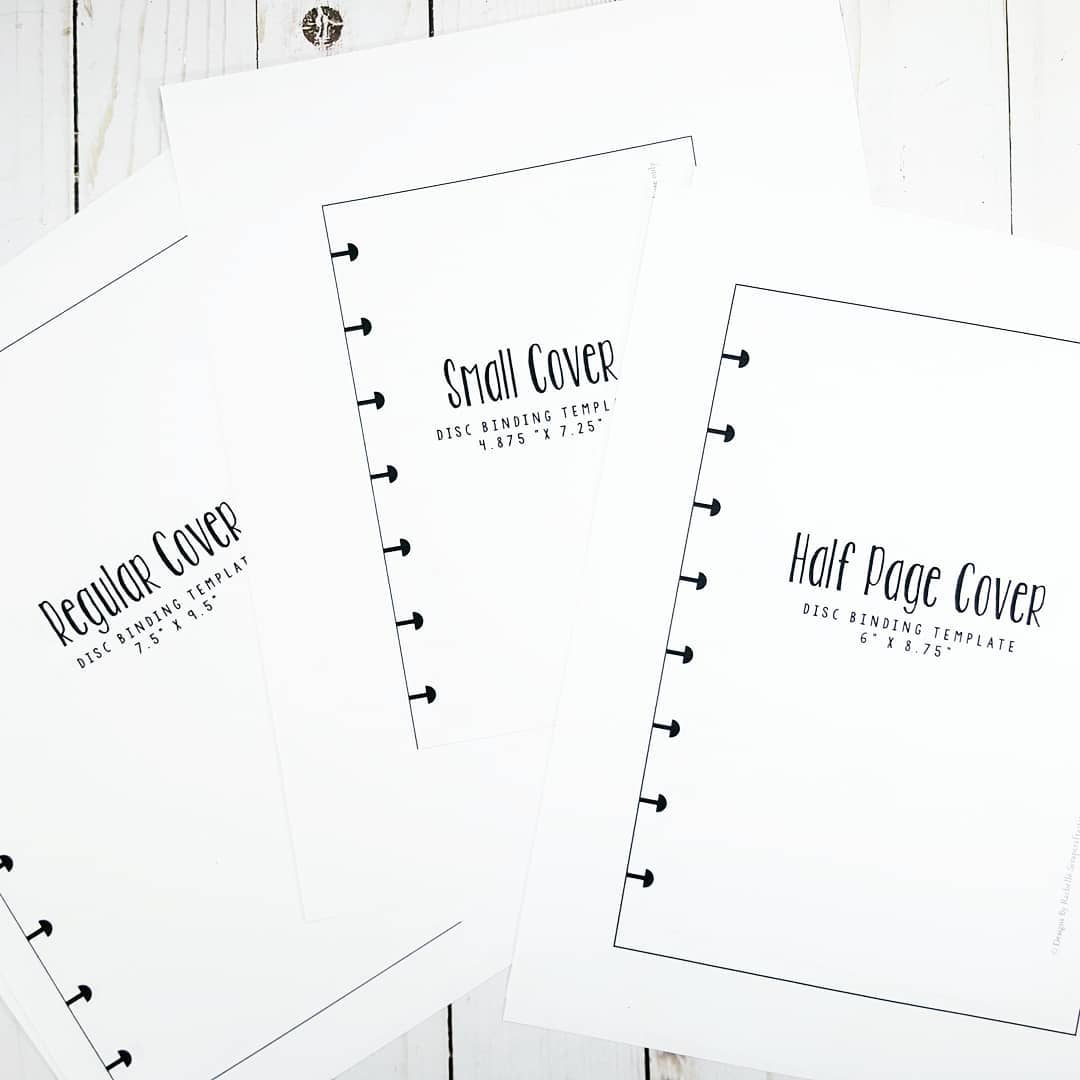 Disc Bound Cover and Inside SVG Templates for Classic, Half Letter Mini, and Micro Disc Bound Sizes