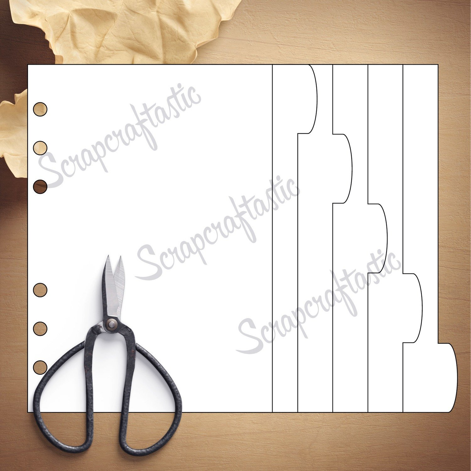 B6 RINGS - 5 Rounded Tab Divider Printable Templates and Cut Files