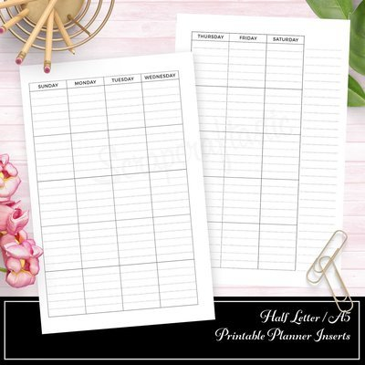 HALF LETTER A5 RINGS or TN Undated Lined Half Page Month on Two Pages (MO2P) Printable Planner Insert