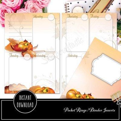 POCKET RINGS - Fall Designed Printable Weekly Planner Insert