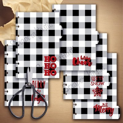 MINI DISC - Holiday Buffalo Plaid Black and White 5 Tab Printable Dividers and Studio Cut File