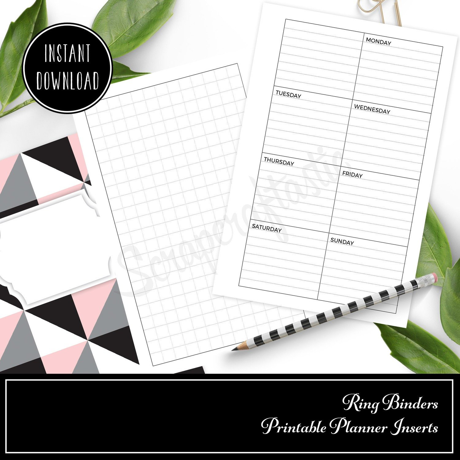 PERSONAL RINGS - Grid and Boxed Lined Undated Weekly Printable Planner Insert