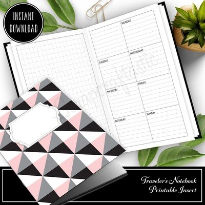 CAHIER - Grid and Boxed Lined Undated Weekly Traveler's Notebook Printable Planner Insert