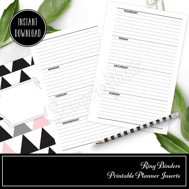 PERSONAL WIDE RINGS - Horizontal Lined Undated Weekly Printable Planner Insert