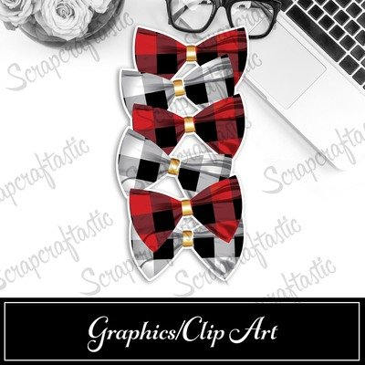 Buffalo Plaid Bow Printable Bookmark Dashboard / Divider Printable and STUDIO Cut File