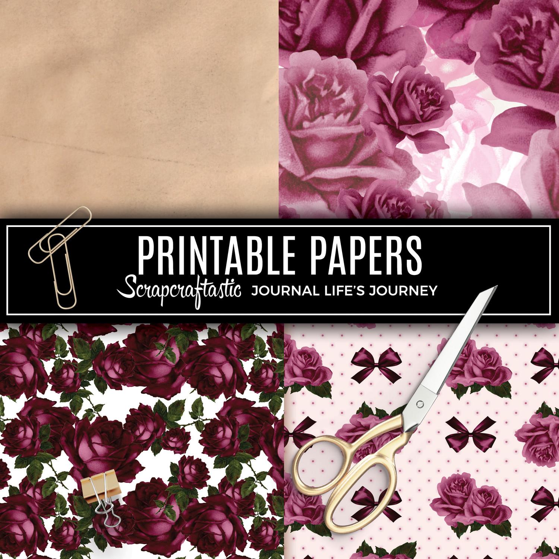 Deep Floral Vintage Digital Printable Pattern Papers