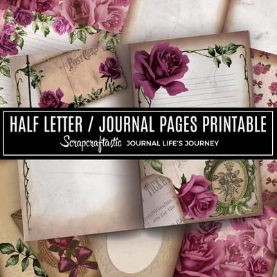 Deep Floral Vintage Digital Printable Half Letter Junk Journal Pages