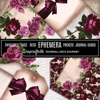 Deep Floral Vintage Digital Printable Journal Ephemera, Envelopes, Tags, Deco, Pockets, Journal Cards