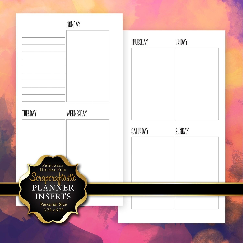 Planner Printable Insert Refill Undated WO2P Personal Size - Filofax Kikki K ColorCrush Erin Condren Size Oversized Full Boxes