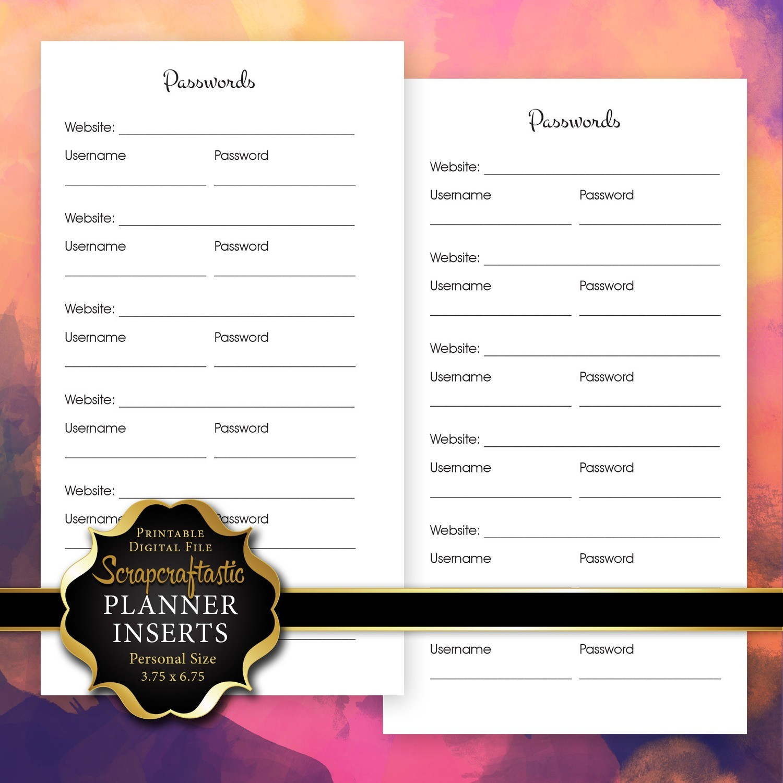 Password Log Planner Insert | Personal Size Planner Filofax Kikki K ColorCrush