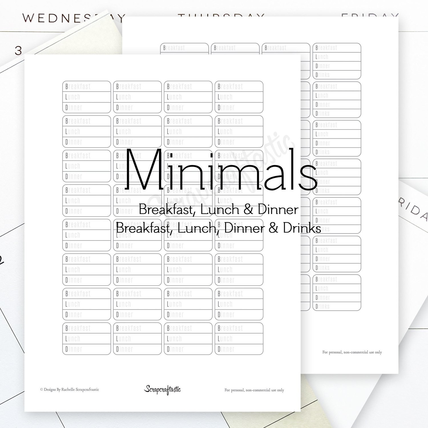 Breakfast, Lunch, Dinner (BLD) and Breakfast, Lunch, Dinner, Drinks (BLDD) Minimals Printable Planner Stickers for MAMBI Happy Planner