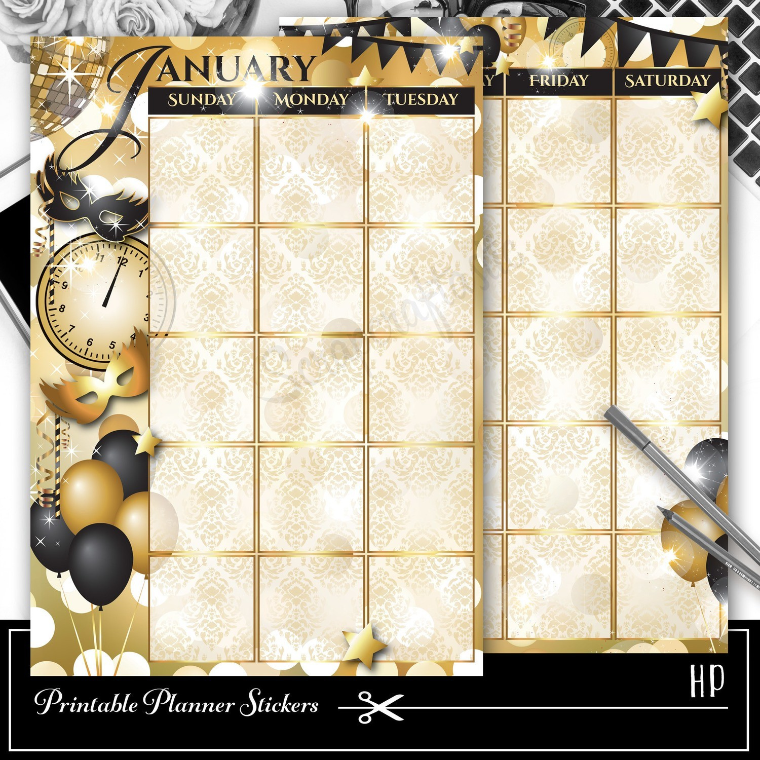 CLASSIC DISC - January Monthly Planner Spread Printable Planner Sticker Overlay for classic size Mambi Happy Planner