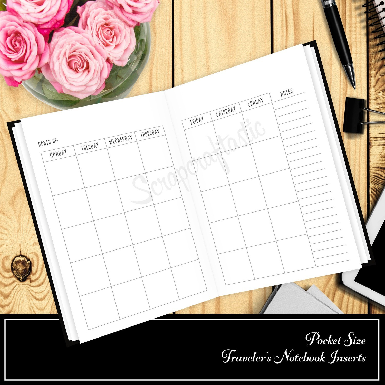 Undated Month Pocket Size Traveler's Notebook Printable Planner Inserts