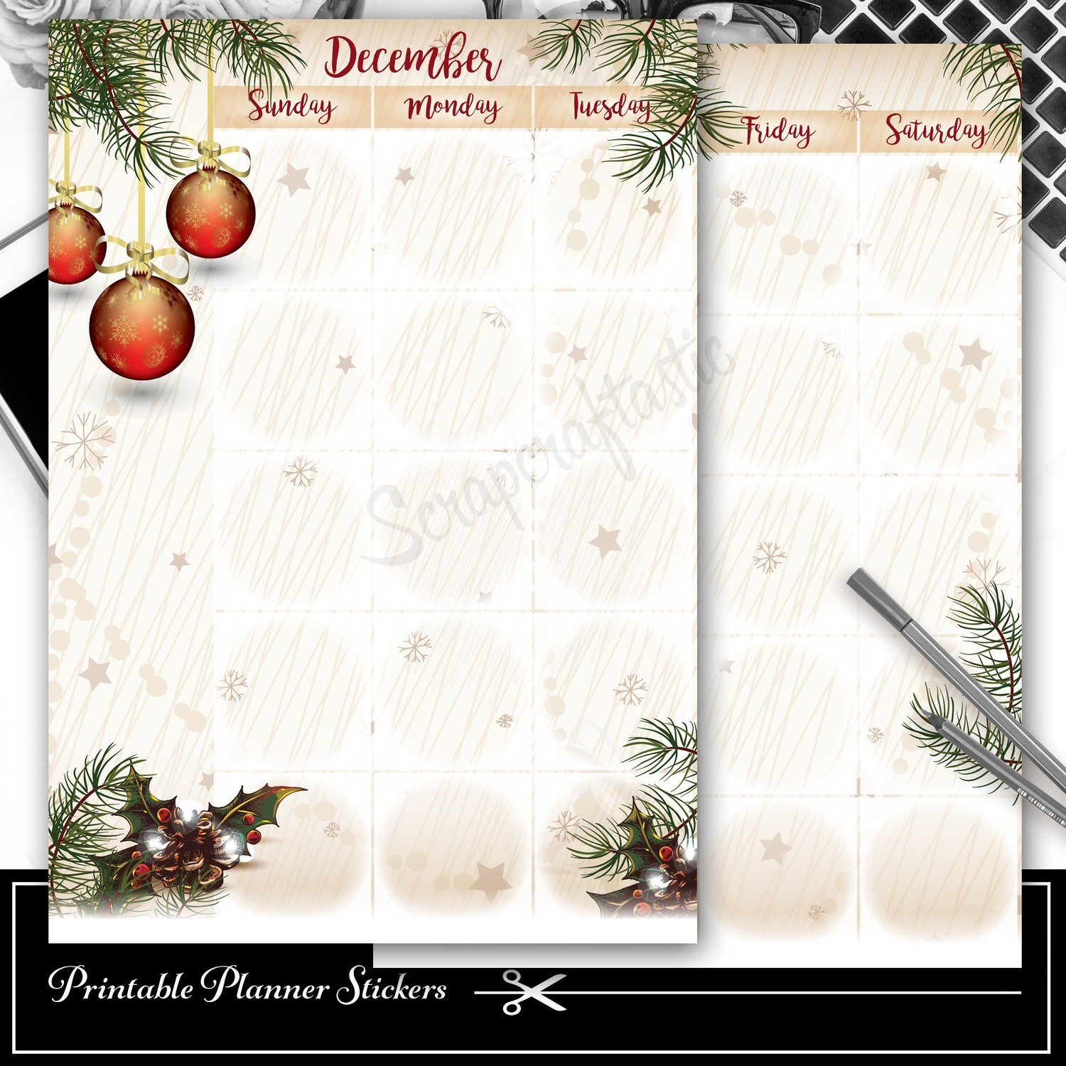 CLASSIC DISC - December Monthly Planner Spread Printable Planner Sticker Overlay for classic size Mambi Happy Planner