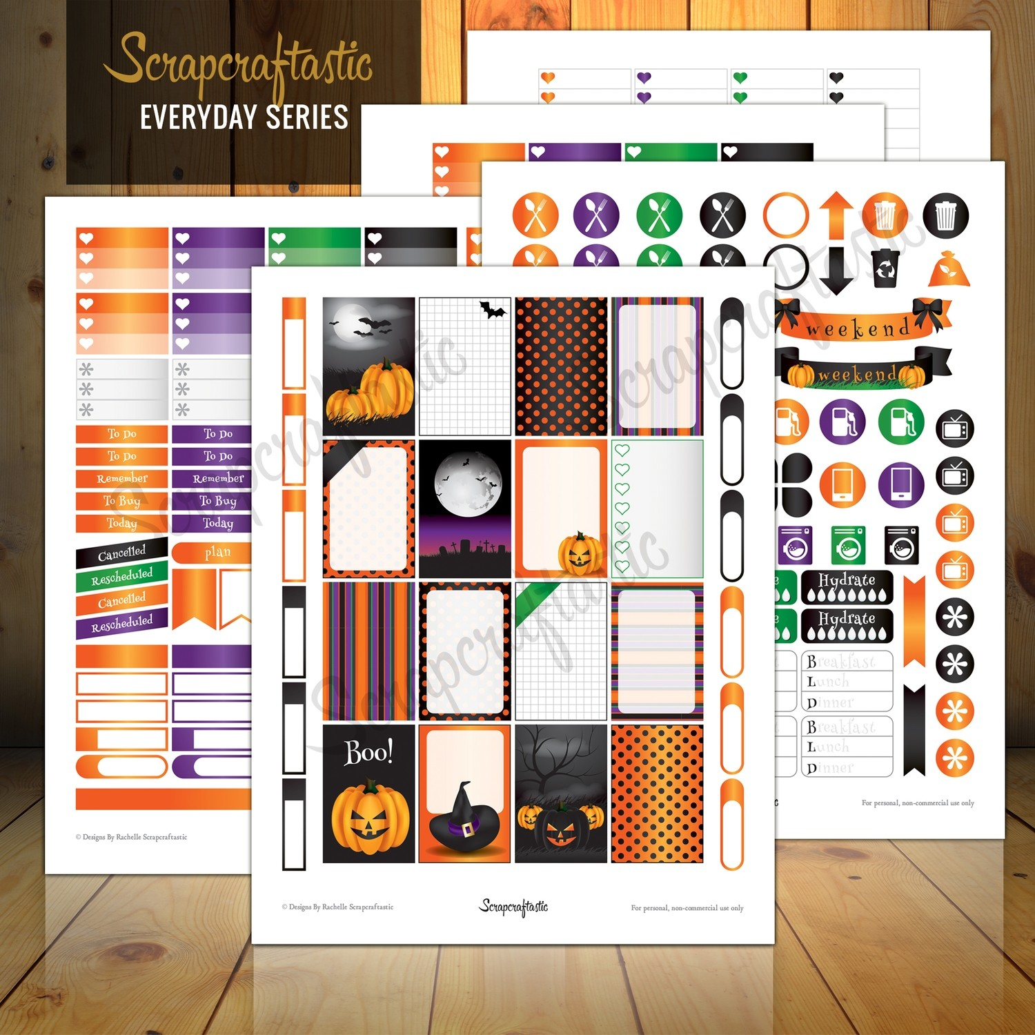 Halloween Everyday Series Printable Planner Stickers for the Classic MAMBI Happy Planner