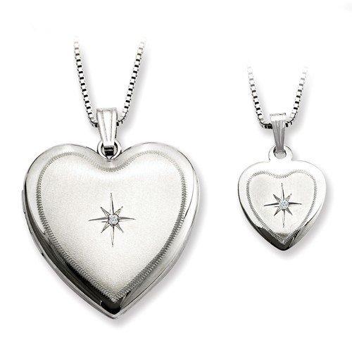 Sterling Silver Mother & Daughter Diamond Locket Set
