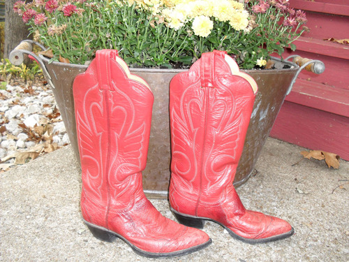 Red Ostrich Larry Mahan Boots!!