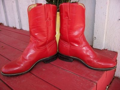Shiny red Justin ropers and a shiny red BMW!!