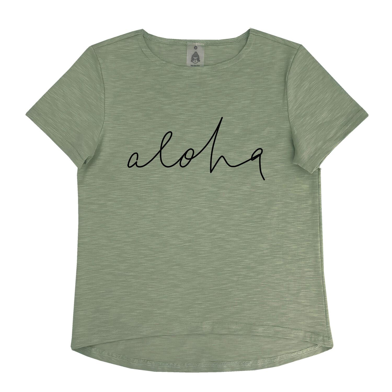 """Футболка """"Aloha"""" хаки (взрослые и детские)"""