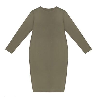 Взрослое трикотажное платье хаки