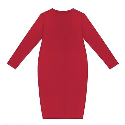 Взрослое трикотажное платье ярко-красное
